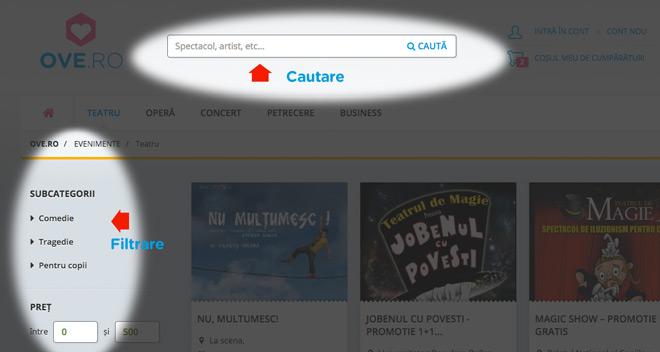 Cautare si filtrare pe OVE.ro